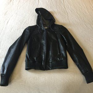 Genuine Leather Jacket With Hood